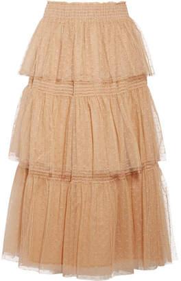 Tiered Flocked Tulle Midi Skirt - Sand
