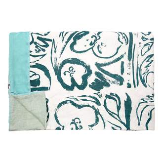 Katie Charleson Rosehip & Poppy Teal Screen Printed Throw