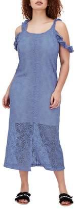 ELVI The Sulfo Lace Cold Shoulder Maxi Dress