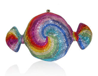Judith Leiber Couture Swirl Candy Crystal Clutch Bag