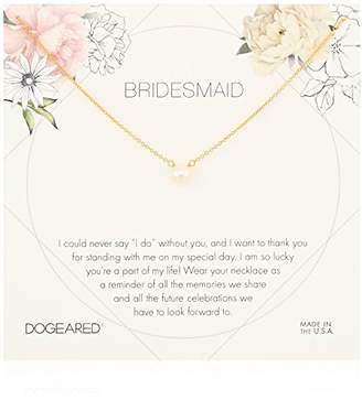 Dogeared Bridesmaid Flower Card Small Button White Pearl Chain Neckalce