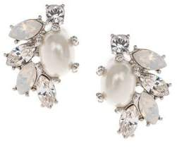 Marchesa Faux Pearl & Crystal Cluster Earrings