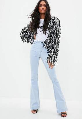 Missguided Blue Stretch Flare Jeans