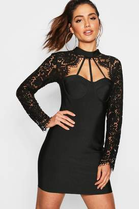 boohoo Lace Top High Neck Bandage Bodycon Dress