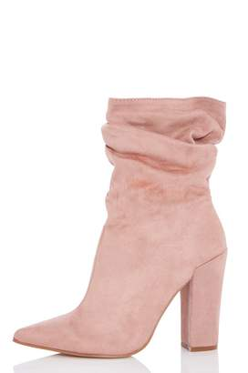 Quiz Blush Pink Faux Suede Slouch Calf Boots