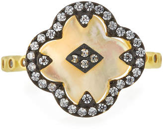 Freida Rothman Mother-of-Pearl Clover Harlequin Ring, Size 8