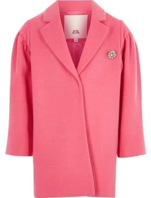 River Island Girls pink puff sleeve jewel brooch coat