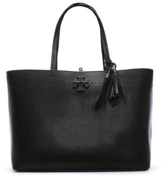 Tory Burch McGraw Black & Royal Blue Leather Tote Bag
