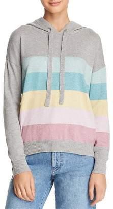 Minnie Rose Metallic Striped Hooded Sweater