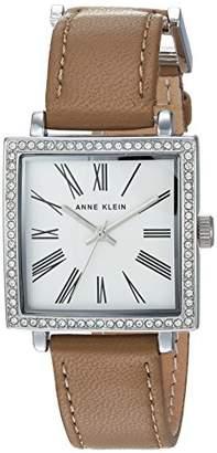 Anne Klein Women's AK/2939SVTN Swarovski Crystal Accented Silver-Tone and Tan Leather Strap Watch