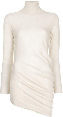asymmetric ruched turtleneck sweater