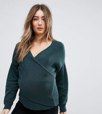 Asos Sweater in Rib with Cross Over Front