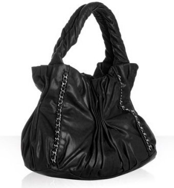 Treesje black leather 'Harlow' gathered shoulder bag