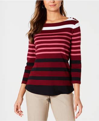 Charter Club Pima Cotton Button-Shoulder Stripe Top