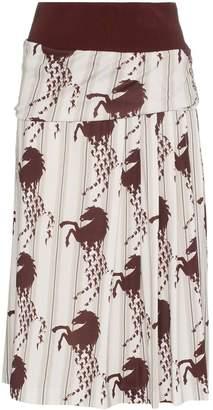 Chloé horse print side pleat midi skirt