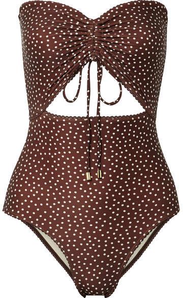 Peony - Cutout Ruched Polka-dot Bandeau Swimsuit - Chocolate