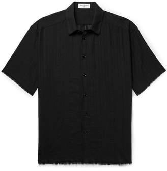 Saint Laurent Frayed Cotton-Gauze Shirt