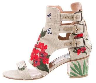 Laurence Dacade Floral-Embroidered Buckle Sandals