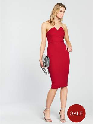 AX Paris Notch Front Bodycon Dress - Red