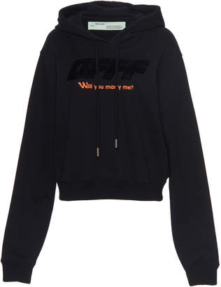 Off-White Modern Obstacles Cotton Jersey Hooded Sweatshirt