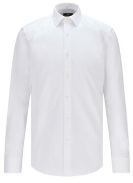 BOSS Hugo Easy-Iron Italian Cotton Dress Shirt, Slim Fit Jenno 14.5 White