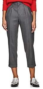 VIS A VIS Women's Pleated Wool Twill Cuffed Trousers - Gray