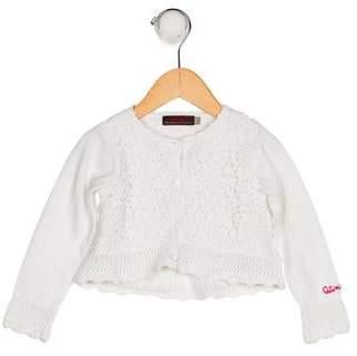 Catimini Girls' Crochet Button-Up Cardigan