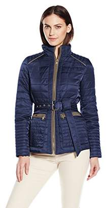 Vince Camuto Women's Lightweight Quilted Jacket with Belt