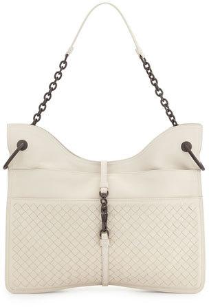 Bottega VenetaBottega Veneta Beverly Medium Flat Hobo Bag, White
