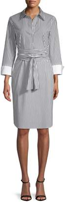 Lafayette 148 New York Fabiola Pinstripe Shirt Dress