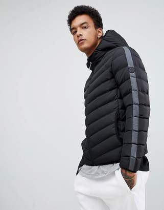 Criminal Damage puffer jacket in black with side stripe