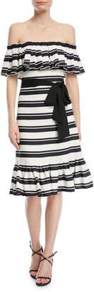 Halston Off-the-Shoulder Striped Dress w/ Tie Waist