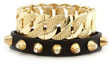Charlotte Russe Spikes & Chains Bracelet Set