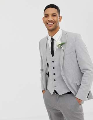 Selected Skinny Wedding Suit Jacket In Cross Hatch