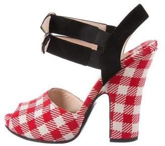 Prada Gingham Ankle Strap Sandals