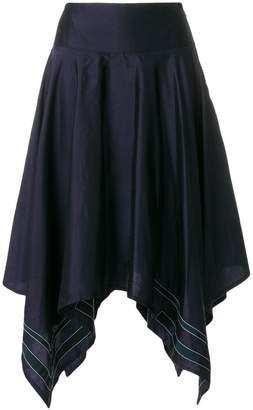 Thom Browne Scarf Hemline Below-knee Silk Skirt