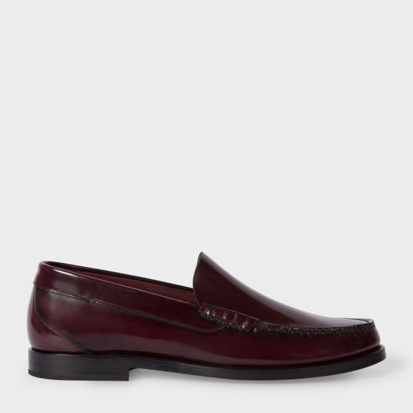 Paul SmithMen's High-Shine Bordeaux Leather 'Raymond' Loafers