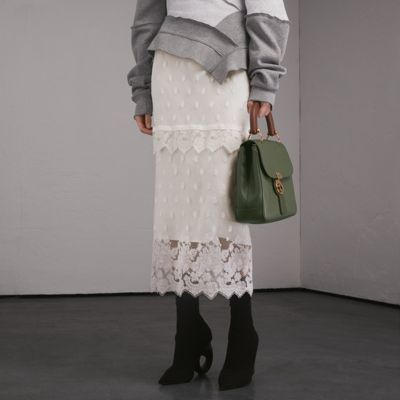 Burberry Embroidered Tulle Panelled Skirt