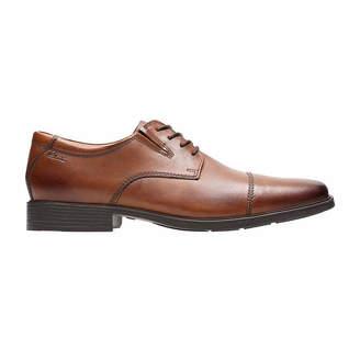 Clarks Tilden Mens Leather Cap-Toe Dress Shoes