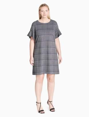 Calvin Klein plus size plaid flutter sleeve dress
