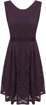 Meaneor Women Round Neck Short Sleeve Pleated Lace Slim Dress Wine Red S