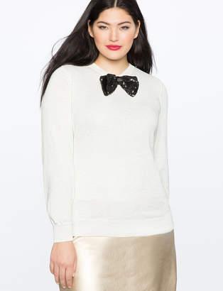 ELOQUII Sequin Bow Sweater