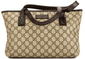 4f0b93341a17 Gucci Brown leather GG Supreme Canvas Tote Bag (4050009)
