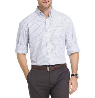 Izod Long Sleeve Checked Button-Front Shirt