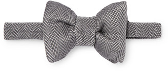 Tom Ford Pre-Tied Herringbone Silk and Cotton-Blend Bow Tie - Men - Gray