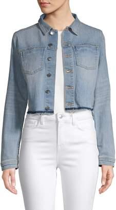 L'Agence Cropped Lace-Up Denim Jacket