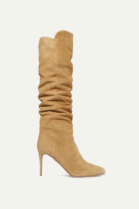 Aquazzura Gainsbourg 85 Suede Knee Boots - Beige