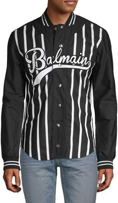 Balmain Striped Cotton Bomber Jacket