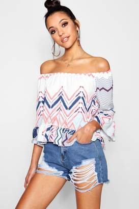 boohoo Double Frill Zig Zag Printed Off The Shoulder Top
