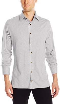 Stone Rose Men's Long Sleeve Button Down Heather Jersey Shirt